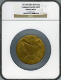 Expositions and Fairs, 1915 Panama-Pacific Expo Medal MS65 NGC. Gilt bronze, 71mm.Original case included....