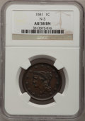 Large Cents: , 1841 1C AU58 NGC. N-3. NGC Census: (17/54). PCGS Population (8/29).Mintage: 1,597,367. Numismedia Wsl. Price for problem ...