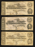 Confederate Notes:1862 Issues, T53 $5 1862. Three Examples.. ... (Total: 3 notes)