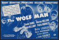 "Movie Posters:Horror, The Wolf Man (Universal, 1941). Herald (6"" X 9""). Horror.. ..."