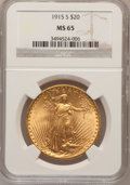 Saint-Gaudens Double Eagles: , 1915-S $20 MS65 NGC. NGC Census: (1592/150). PCGS Population(1838/183). Mintage: 567,500. Numismedia Wsl. Price for proble...