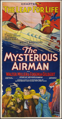 "The Mysterious Airman (Weiss Brothers Artclass Pictures, 1928). Three Sheet (41"" X 81"") Chapter 7 -- ""The..."