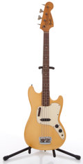 Musical Instruments:Bass Guitars, 1973 Fender Musicmaster White Electric Bass Guitar, #513046....