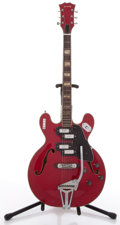 Musical Instruments:Electric Guitars, Vintage Kimberly 4 Pickup Red Semi-Hollow Body Electric Guitar,#N/A....
