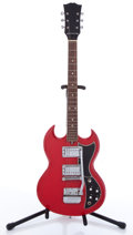 Musical Instruments:Electric Guitars, Vintage Hagstrom SG Copy Red Solid Body Electric Guitar, #N/A....