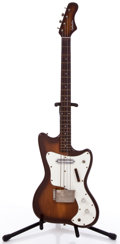 Musical Instruments:Bass Guitars, 1960's Silvertone Sunburst Electric Bass Guitar #18514429....