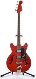 Musical Instruments:Bass Guitars, Hagstrom Red Electric Bass Guitar #696124...