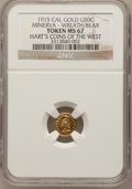 California Gold Charms, 1915 1/2 California Gold, Minerva / Wreath and Bear MS67 NGC. Hart's Gold Coins of the West....