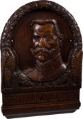 Military & Patriotic:WWI, Striking Wooden Portrait of Field Marshal Paul von Hindenburg....