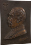 Military & Patriotic:WWI, Bronze Portrait Plaque of Otto von Bismarck, Circa 1890....