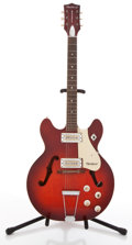 Musical Instruments:Electric Guitars, Vintage Harmony Rocket Red Semi-Hollow Body Electric Guitar#7367H656...
