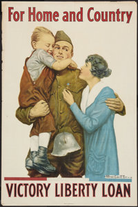"""War Propaganda Poster (U.S. Government, 1918). World War I Poster (20"""" X 30"""") """"For Home and Country""""..."""