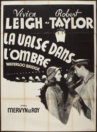 "Waterloo Bridge (MGM, R-1950s). French Grande (47"" X 63""). Romance"