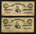 Confederate Notes:1864 Issues, T66 $50 1864. Two Examples.. ... (Total: 2 notes)