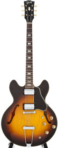 Musical Instruments:Electric Guitars, 1966/69 Gibson ES-335 TD Sunburst Semi-Hollow Body Electric Guitar,#845689....