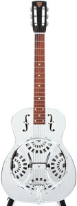 Musical Instruments:Resonator Guitars, Modern Dobro Square Neck Chrome Plated Resonator Guitar, #B2286....