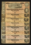 Confederate Notes:1864 Issues, T68 $10 1864. Eight Examples.. ... (Total: 8 notes)