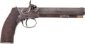"""Military & Patriotic:Pre-Civil War, Most Rare C. 1860 Single Shot Percussion Pistol Signed """"J. C. Short"""" Tyler, Tx. One of the Founders of the Tyler Texas Confede..."""