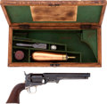 Military & Patriotic:Pre-Civil War, Very Fine Cased Colt M1851 .36 Caliber Percussion Navy Revolver, #165910 Matching, with New York Address and English Proof...
