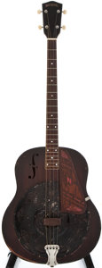 Musical Instruments:Acoustic Guitars, 1937 National Tenor Dark Red Resonator Guitar, #A6454....