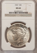 Peace Dollars: , 1927 $1 MS60 NGC. NGC Census: (41/3525). PCGS Population (58/5186).Mintage: 848,000. Numismedia Wsl. Price for problem fre...