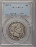 Barber Half Dollars: , 1892-O 50C VF25 PCGS. PCGS Population (5/242). NGC Census: (1/200).Mintage: 390,000. Numismedia Wsl. Price for problem fre...