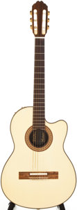 Musical Instruments:Acoustic Guitars, 1985 Gibson Chet Atkins White Acoustic Electric Guitar,#81905704....