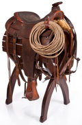 Movie/TV Memorabilia:Memorabilia, A Western Saddle and Stand, 1960s.... (Total: 2 )