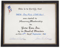 Movie/TV Memorabilia:Memorabilia, A John Ford Certificate, 1969....