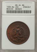 Mexico, Mexico: Republic 20 Centavos 1935 Bronze,...
