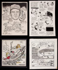 Baseball Collectibles:Others, Original Vintage Sports Artwork Lot of 4....