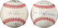 Autographs:Baseballs, 1970's Multi-Signed Baseballs Lot of 2....