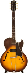 Musical Instruments:Electric Guitars, 1956 Gibson ES225T Sunburst Semi-Hollow Body Electric Guitar,#V74068....