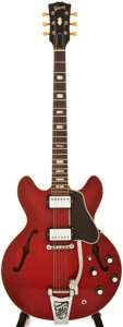 Musical Instruments:Electric Guitars, 1966 Gibson ES-335 Cherry Semi-Hollow Body Electric Guitar,#854872....