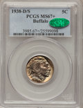 Buffalo Nickels, 1938-D/S 5C MS67+ PCGS. CAC. FS-511....
