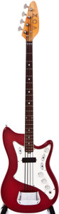 Musical Instruments:Acoustic Guitars, 1960s Vox Bass Red Electric Bass Guitar, #387501....