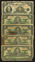 Canadian Currency: , Canadian $1's - 1935 and 1937.. ... (Total: 11 notes)