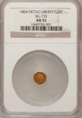 California Fractional Gold: , 1864 25C Liberty Octagonal 25 Cents, BG-735, R.4, AU55 NGC. NGCCensus: (2/9). PCGS Population (6/61). (#10562)...