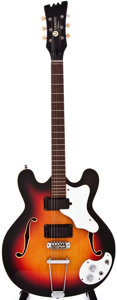 Musical Instruments:Electric Guitars, 1967 Mosrite Celebrity #3 Semi-Hollow Body Sunburst ElectricGuitar, #K0606....