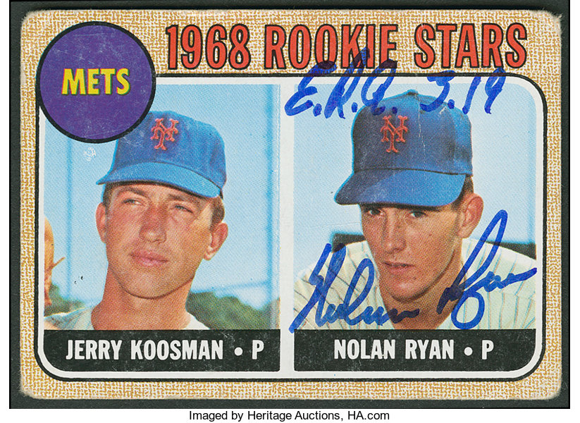 1968 Topps Signed Nolan Ryan Rookie Card Baseball Cards