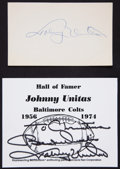 Football Collectibles:Others, Johnny Unitas Signed Memorabilia Lot of 2....
