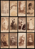 Non-Sport Cards:Lots, 1880's N145 Cross-Cut Cigarettes Actors and Actresses Collection(12) - All San-Serif Font Style. ...