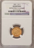 Liberty Quarter Eagles: , 1851 $2 1/2 --Improperly Cleaned--NGC Details. AU. NGC Census:(13/646). PCGS Population (17/334). Mintage: 1,372,748. Numis...