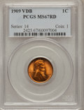 Lincoln Cents, 1909 VDB 1C MS67 Red PCGS....