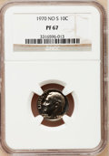Proof Roosevelt Dimes: , 1970 10C No S PR67 NGC. NGC Census: (23/38). PCGS Population(46/56). Mintage: 2,200. Numismedia Wsl. Price for problem fre...