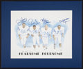 Football Collectibles:Others, Los Angeles Rams and Cleveland Browns Multi Signed Prints....