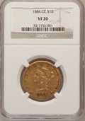 Liberty Eagles, 1884-CC $10 VF20 NGC. Variety 1-A....