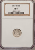 Seated Half Dimes, 1850 H10C MS65 NGC....