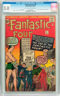 Fantastic Four #9 (Marvel, 1962) CGC GD/VG 3.0 Light tan to white pages