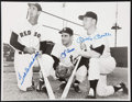 Baseball Collectibles:Photos, Yogi Berra, Mickey Mantle and Ted Williams Multi Signed OversizedPhotograph....